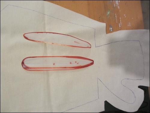 Muster der Unterarmplatten auf dem Schnittmuster